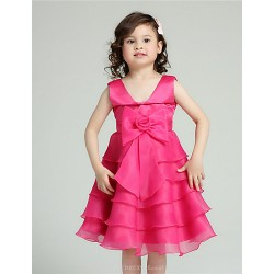 A-line Knee-length Flower Girl Dress - Organza / Satin Sleeveless