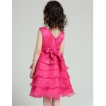 A-line Knee-length Flower Girl Dress - Organza / Satin Sleeveless Flower Girl Dresses