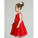 A-line Knee-length Flower Girl Dress - Organza / Satin Sleeveless Flower Girl Dresses