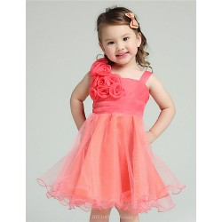A-line Knee-length Flower Girl Dress - Organza / Tulle Sleeveless