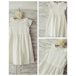 Sheath Column Knee Length Flower Girl Dress Cotton Short Sleeve