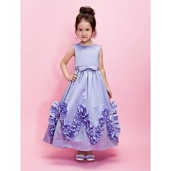 Ball Gown A Line Ankle Length Flower Girl Dress Satin Sleeveless
