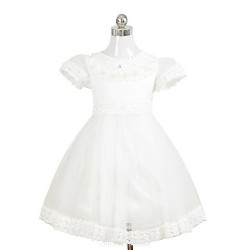 A-line/Ball Gown/Sheath/Column Tea-length Flower Girl Dress - Chiffon/Satin Short Sleeve