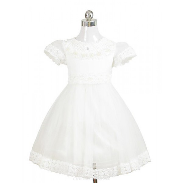 A-line/Ball Gown/Sheath/Column Tea-length Flower Girl Dress - Chiffon/Satin Short Sleeve Flower Girl Dresses