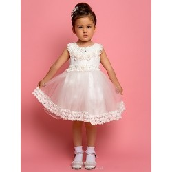 A Line Ball Gown Sheath Column Tea Length Flower Girl Dress Chiffon Satin Sleeveless