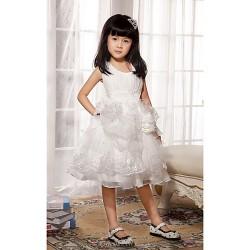 Ball Gown Princess Knee Length Flower Girl Dress Satin Tulle Sleeveless