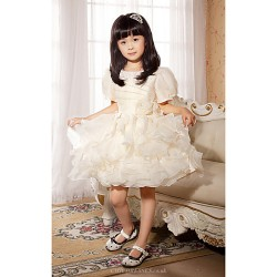 Ball Gown Princess Short Mini Flower Girl Dress Satin Tulle Short Sleeve