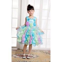 Ball Gown/Princess Knee-length Flower Girl Dress - Satin/Tulle Sleeveless
