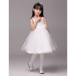 Formal Evening Wedding Party Dress Ivory A Line Sweetheart Knee Length Satin Tulle