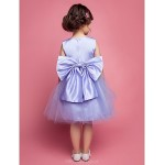A-line/Ball Gown/Princess Knee-length Flower Girl Dress - Satin/Tulle Sleeveless Flower Girl Dresses