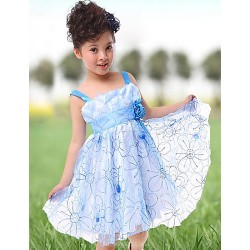 A-line/Ball Gown/Princess Knee-length Flower Girl Dress - Tulle Sleeveless