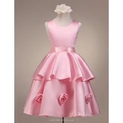 A Line Ball Gown Princess Knee Length Flower Girl Dress Satin Sleeveless