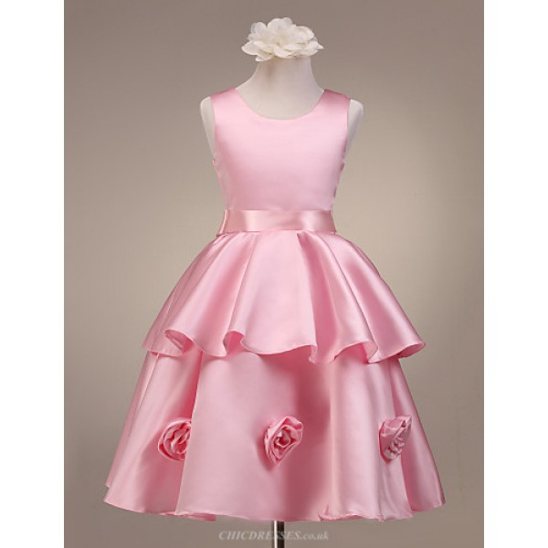 A-line/Ball Gown/Princess Knee-length Flower Girl Dress - Satin Sleeveless Flower Girl Dresses