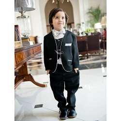 White Polester Cotton Blend Ring Bearer Suit 5 Pieces