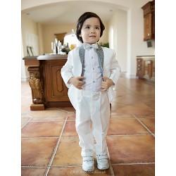 White Polester/Cotton Blend Ring Bearer Suit - 4 Pieces