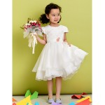 A-line Tea-length Flower Girl Dress - Polyester Short Sleeve Flower Girl Dresses