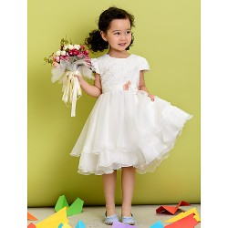 A Line Tea Length Flower Girl Dress Polyester Short Sleeve