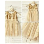 A-line Knee-length Flower Girl Dress - Tulle/Sequined Sleeveless Flower Girl Dresses