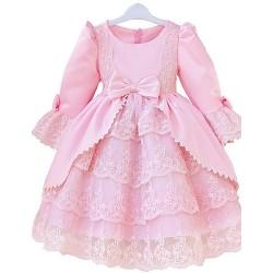 Princess Knee Length Flower Girl Dress Lace Satin Long Sleeve