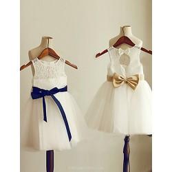 A-line Knee-length Flower Girl Dress - Tulle / Lace