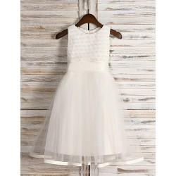 Beautiful A Line Princess Jewel Tea Length Sequined And Tulle Flower Girl Dress