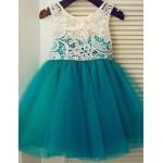 A-line Knee-length Flower Girl Dress - Lace/Tulle Sleeveless Flower Girl Dresses