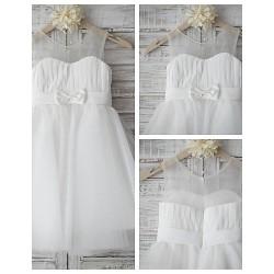 A-Line Princess Jewel Tulle And Chiffon Beautiful Flower Girl Dress