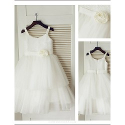 A-Line Princess Spaghetti Straps Tulle And Sequined Beautiful Flower Girl Dress