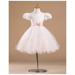 Flower Girl Dress Knee-length Satin/Tulle Princess Short Sleeve Dress