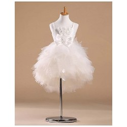 Flower Girl Dress Knee Length Satin Tulle Princess Sleeveless Dress