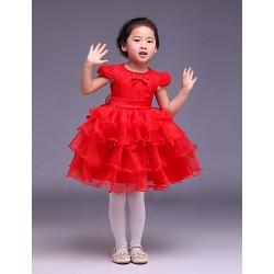 Ball Gown Knee-length Flower Girl Dress - Satin/Tulle Short Sleeve