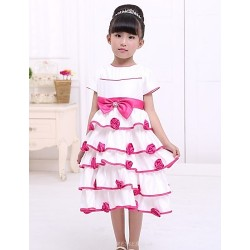 A Line Tea Length Flower Girl Dress Satin Short Sleeve