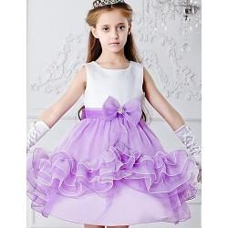 Princess Tea Length Flower Girl Dress Satin Tulle Sleeveless