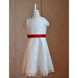 Flower Girl Dress Floor-length Cotton/Lace/Silk A-line Sleeveless Dress