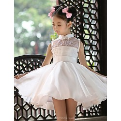 Flower Girl Dress Short Mini Satin Ball Gown Sleeveless Dress
