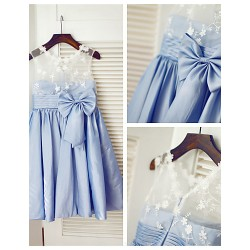 Princess Knee-length Flower Girl Dress - Lace/Taffeta Sleeveless