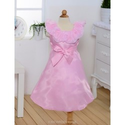A Line Tea Length Flower Girl Dress Satin Sleeveless