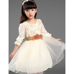 Flower Girl Dress Knee Length Cotton Organza Taffeta Ball Gown Sleeveless Dress