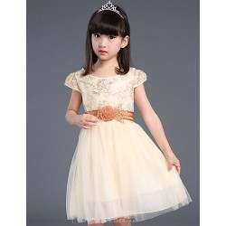 Flower Girl Dress Knee-length Cotton/Organza/Taffeta Ball Gown Sleeveless Dress