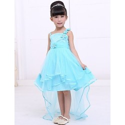 Flower Girl Dress Tea-length Satin/Tulle A-line Sleeveless Dress