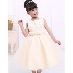 Flower Girl Dress Tea-length Satin/Tulle A-line Sleeveless Dress