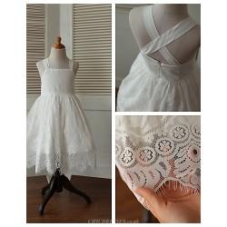 Ball Gown Tea-length Flower Girl Dress - Cotton/Lace Sleeveless
