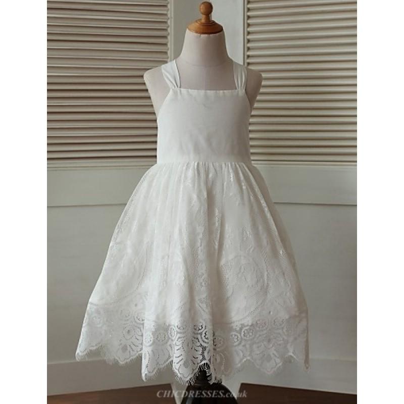 Ball Gown Tea Length Flower Girl Dress Cotton Lace