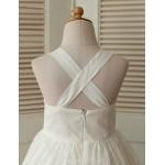 Ball Gown Tea Length Flower Girl Dress Cotton Lace Sleeveless