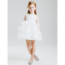 Princess Short Mini Flower Girl Dress Satin Tulle Sleeveless