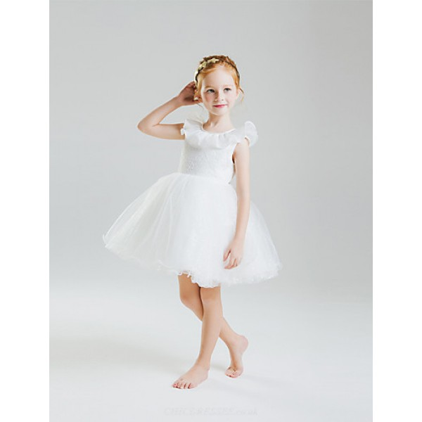 Princess Short/Mini Flower Girl Dress - Lace/Organza/Satin/Tulle/Sequined Sleeveless Flower Girl Dresses
