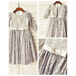 A-line Knee-length Flower Girl Dress - Lace 3/4 Length Sleeve