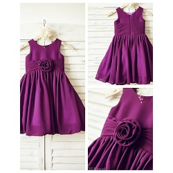 A-line Knee-length Flower Girl Dress - Chiffon Sleeveless
