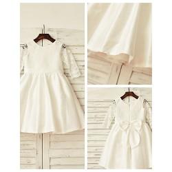 A Line Knee Length Flower Girl Dress Lace Taffeta 3 4 Length Sleeve