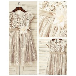 A-line Knee-length Flower Girl Dress - Lace Short Sleeve